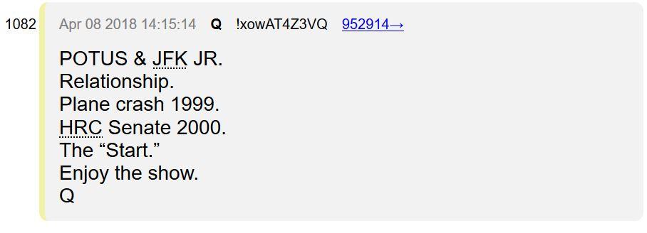 QAnon - военная разведка США, которая наняла Трампа в качестве президента, чтобы предотвратить Государственный переворот Clinton-and-JFK-Jr-Plane-Crash